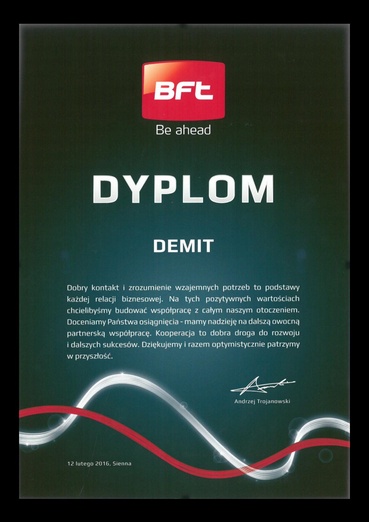Dyplom BFT dla DEMIT