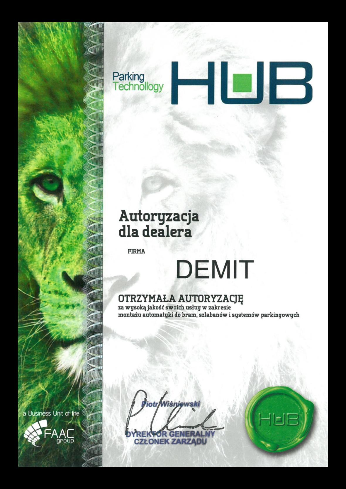FAAC HUB autoryzacja dla dealera DEMIT
