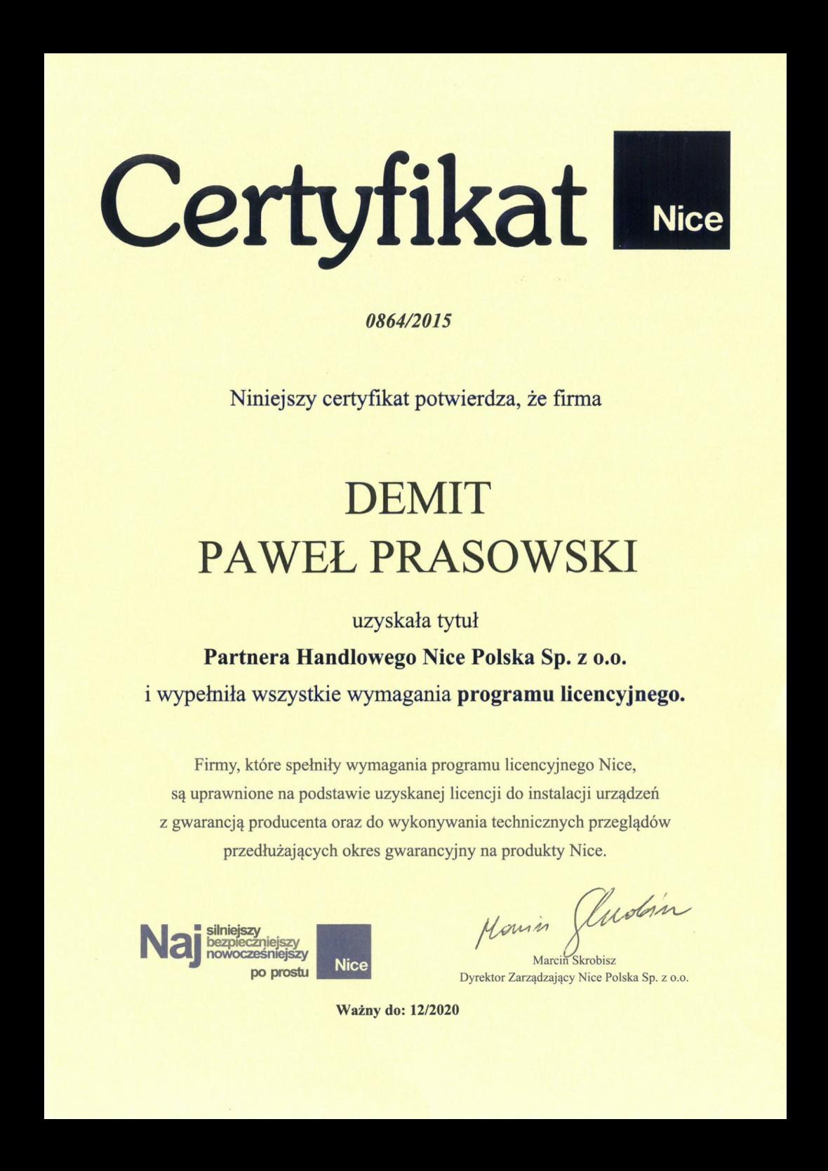 Certyfikat NICE dla DEMIT Paweł Prasowski